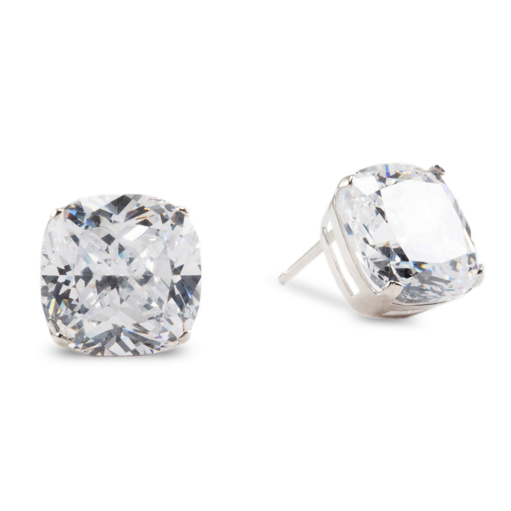 Cushion Cut Sterling Silver Cubic Zirconia Stud Earrings