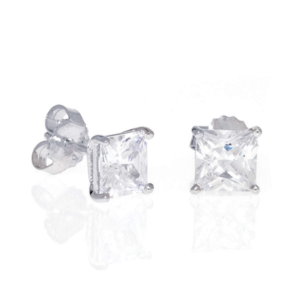 Sterling Silver CZ Princess Cut Stud Earrings