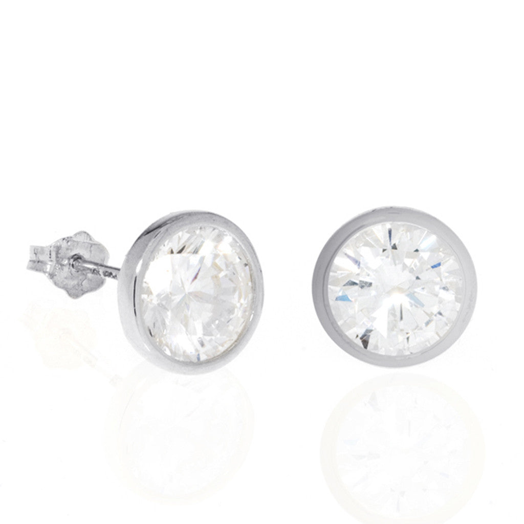 Bezel Set Sterling Silver Cubic Zirconia Stud Earrings