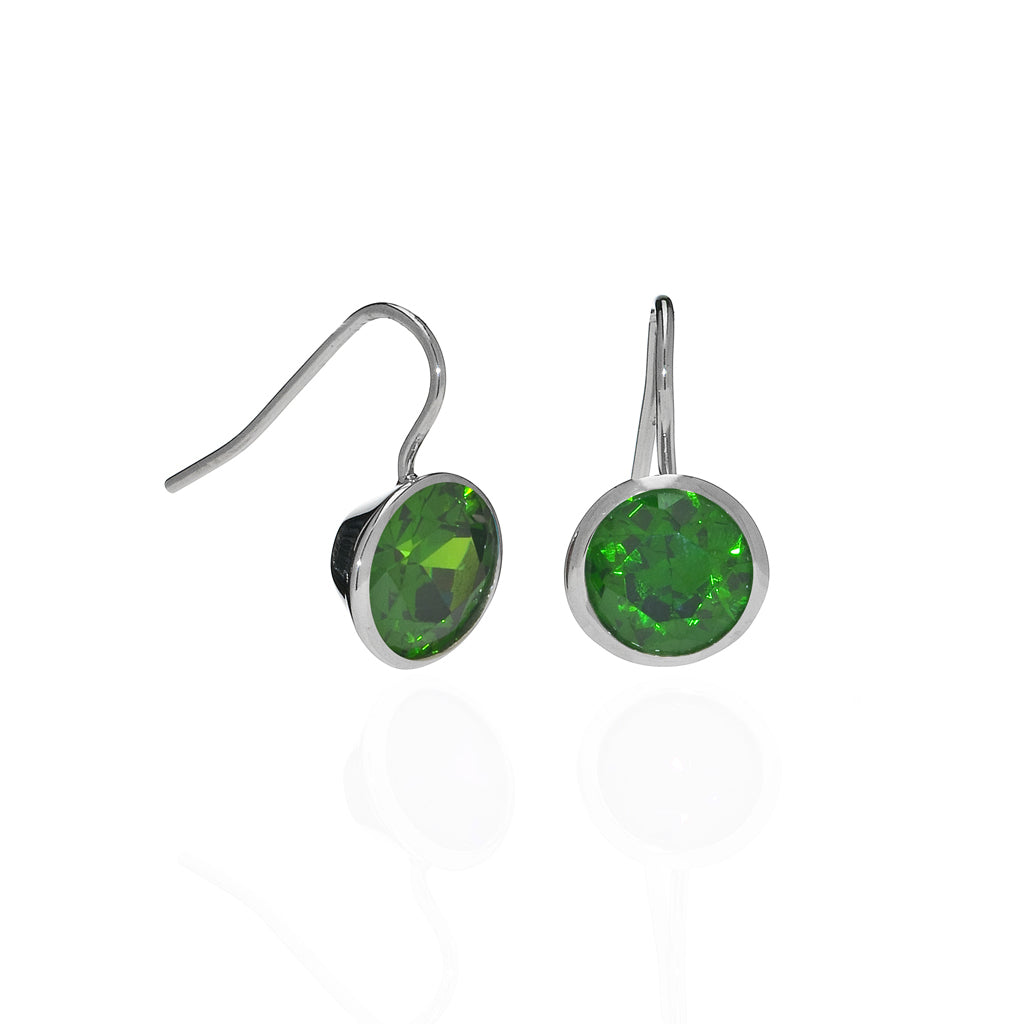 6 Carat Emerald CZ Sterling Silver Bezel Set Earrings