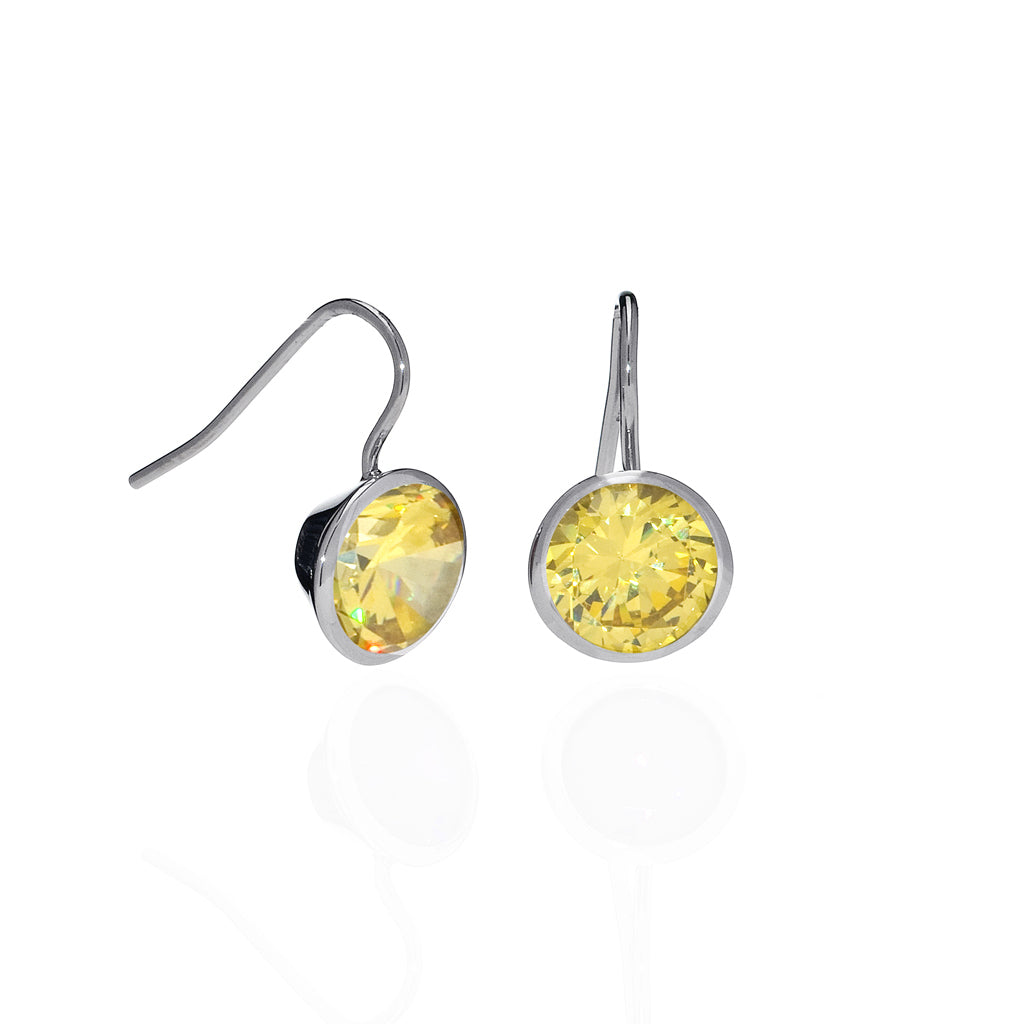 6 Carat Canary CZ Sterling Silver Bezel Set Earrings