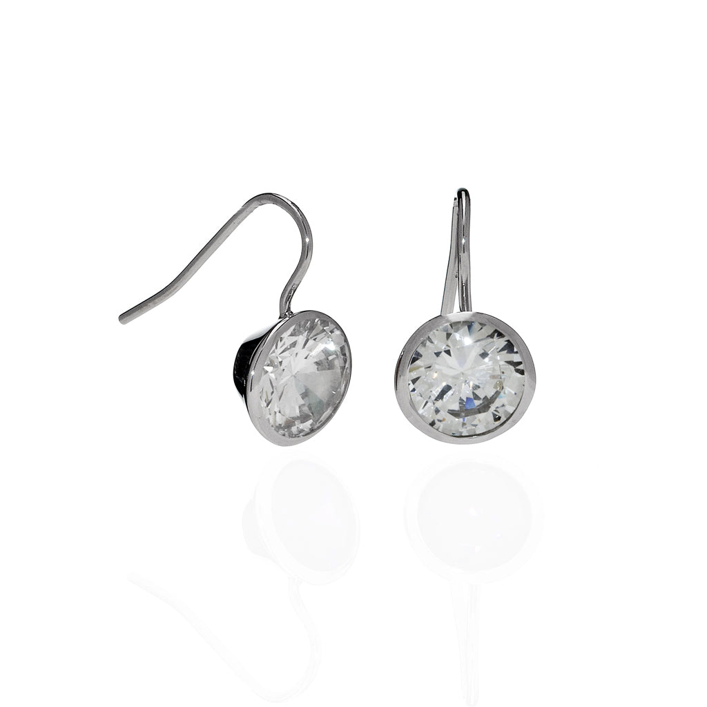 4 Carat CZ Sterling Silver Bezel Set Earrings