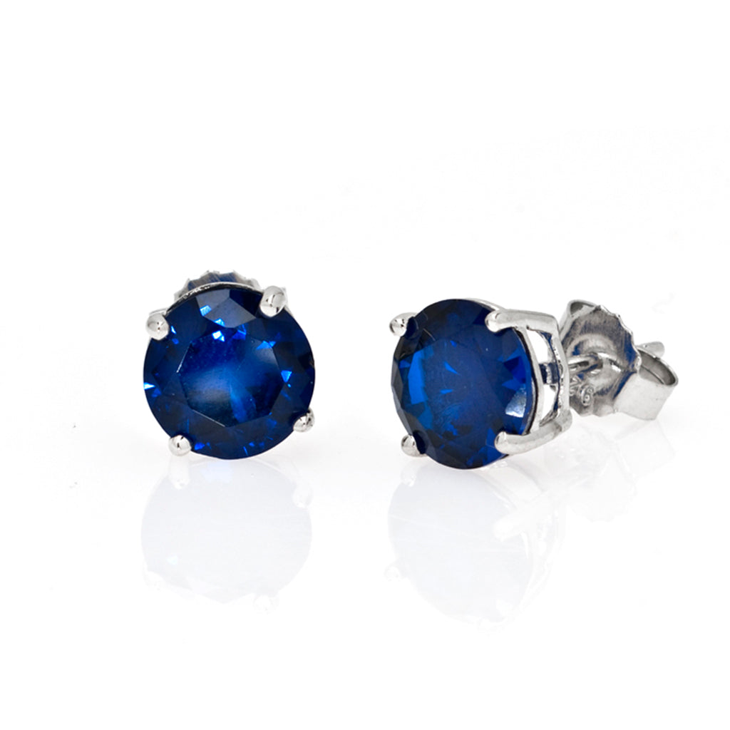 Sterling Silver CZ Sapphire 4 CT Stud Earrings