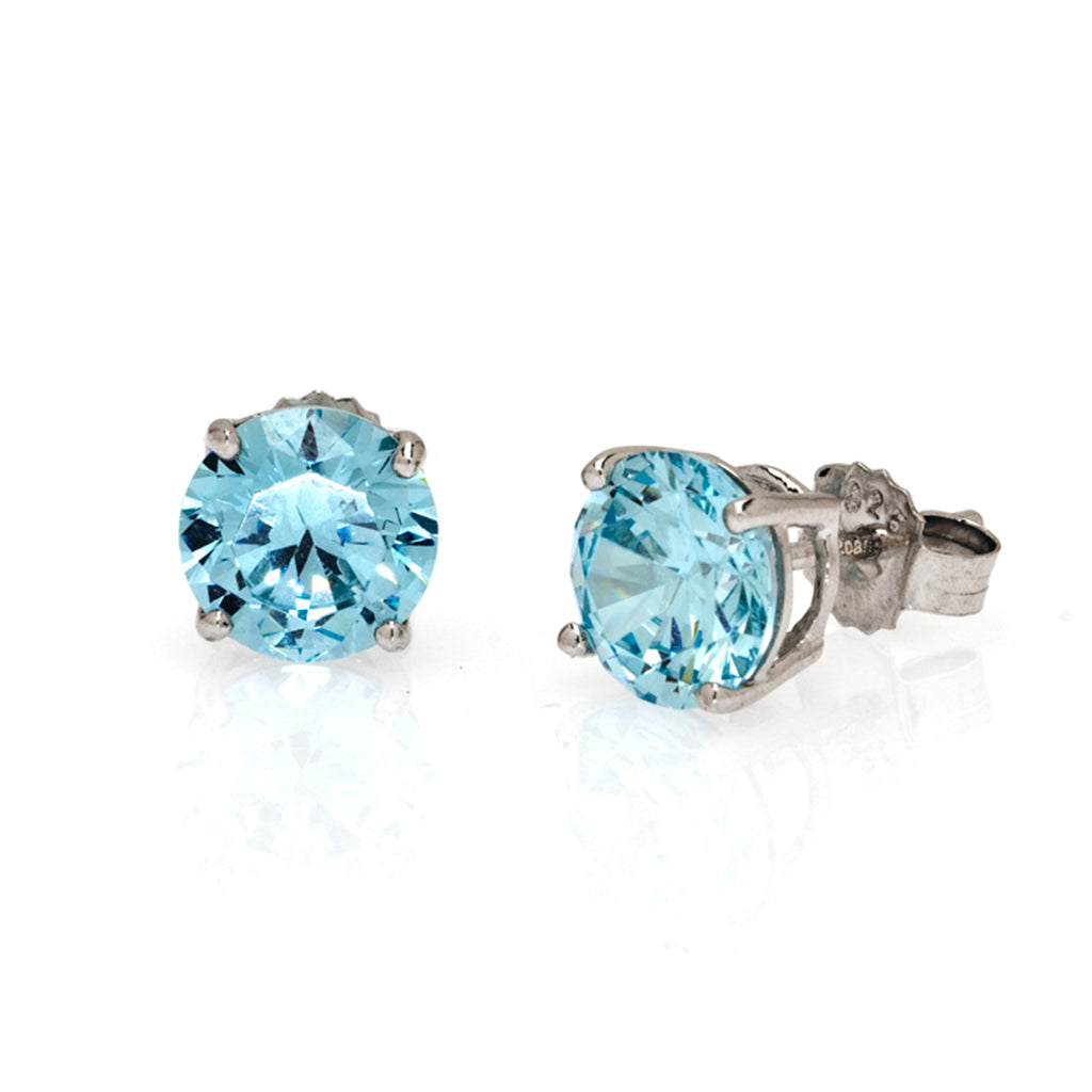 Sterling Silver CZ Aqua 4 CT Stud Earrings