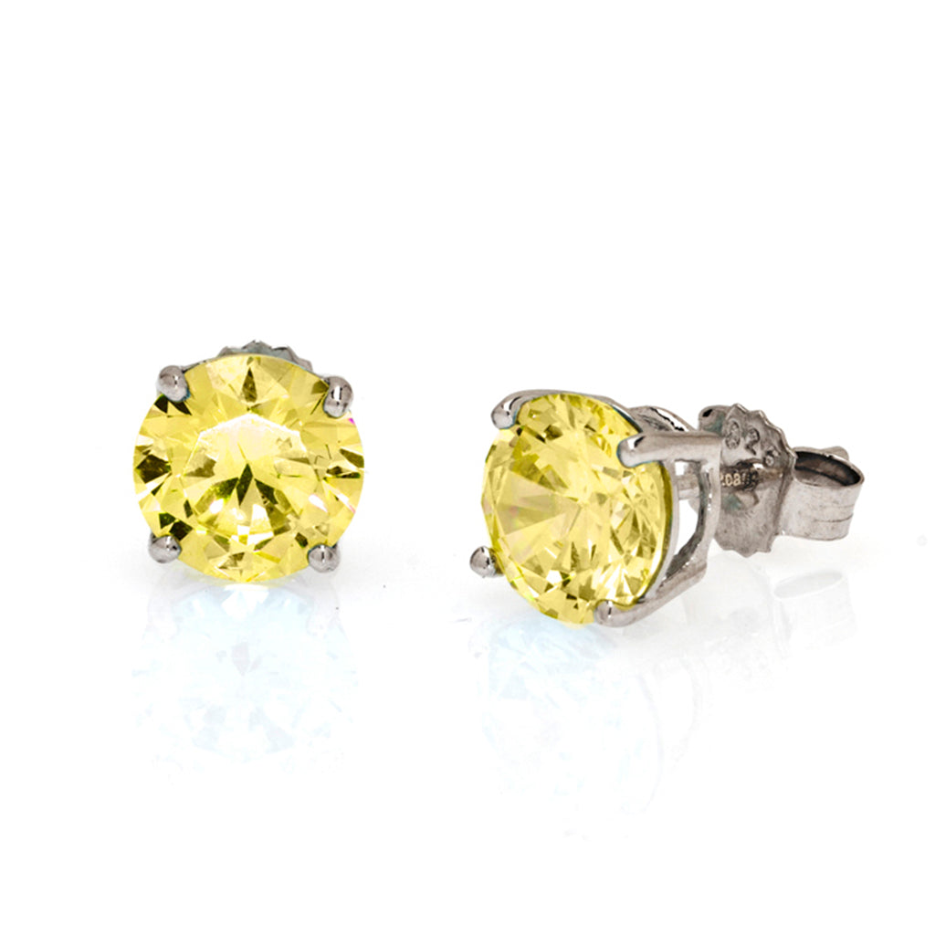 Sterling Silver CZ Canary 4 CT Stud Earrings