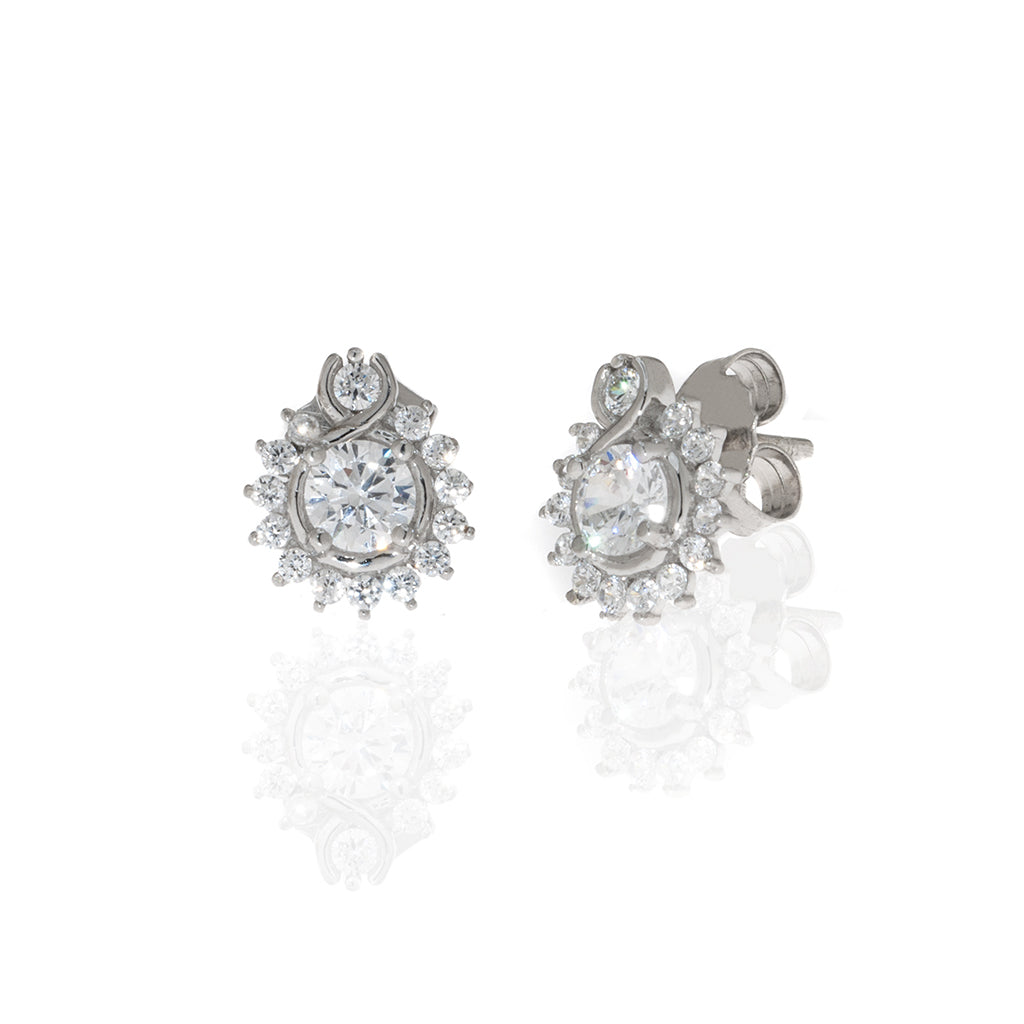 1.8 Carat Round CZ With  Sterling Silver Earrings
