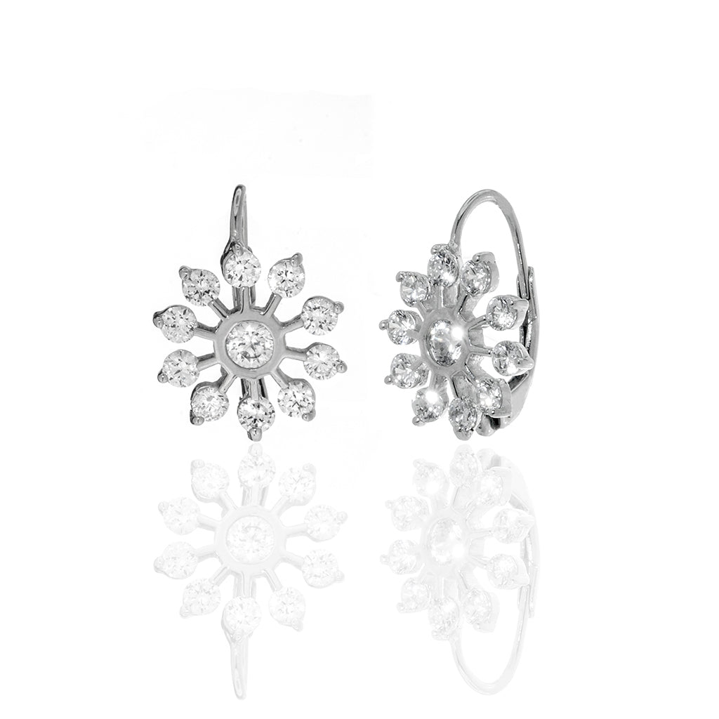 Round CZ  Sterling Silver Leverback Earrings