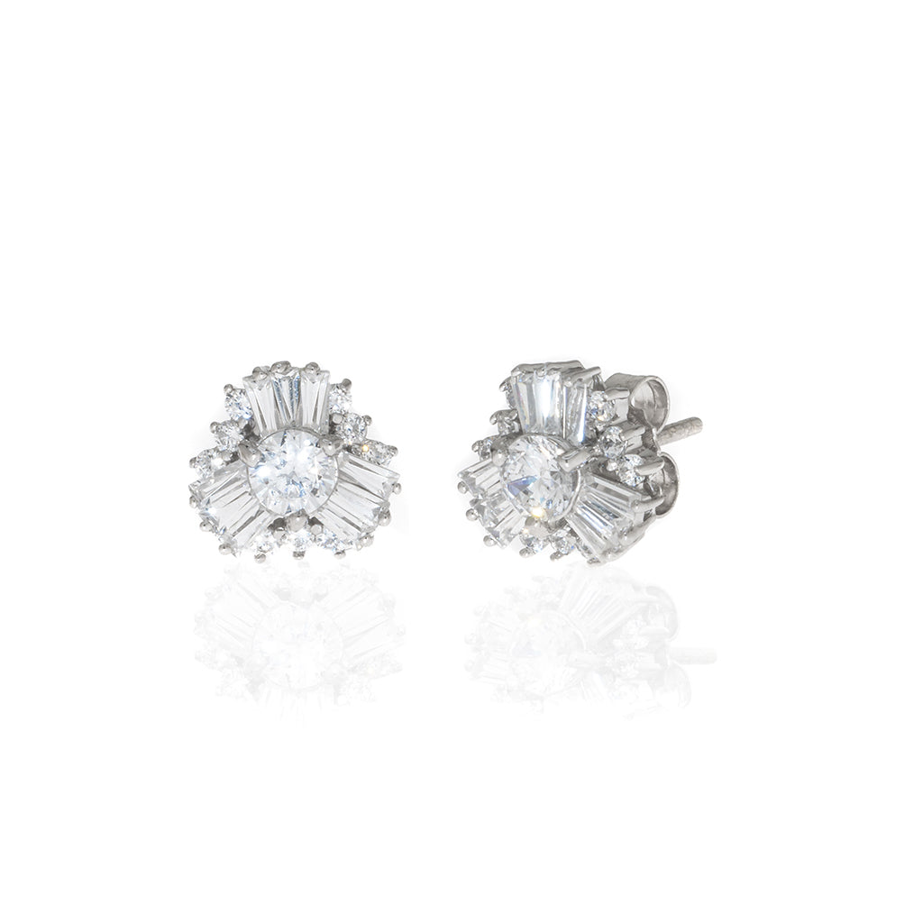 3.6 Carat Round CZ With Baguettes Sterling Silver Earrings