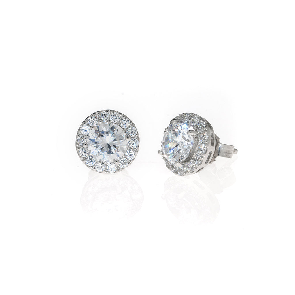 2.75 Carat Round CZ Sterling Silver Earrings
