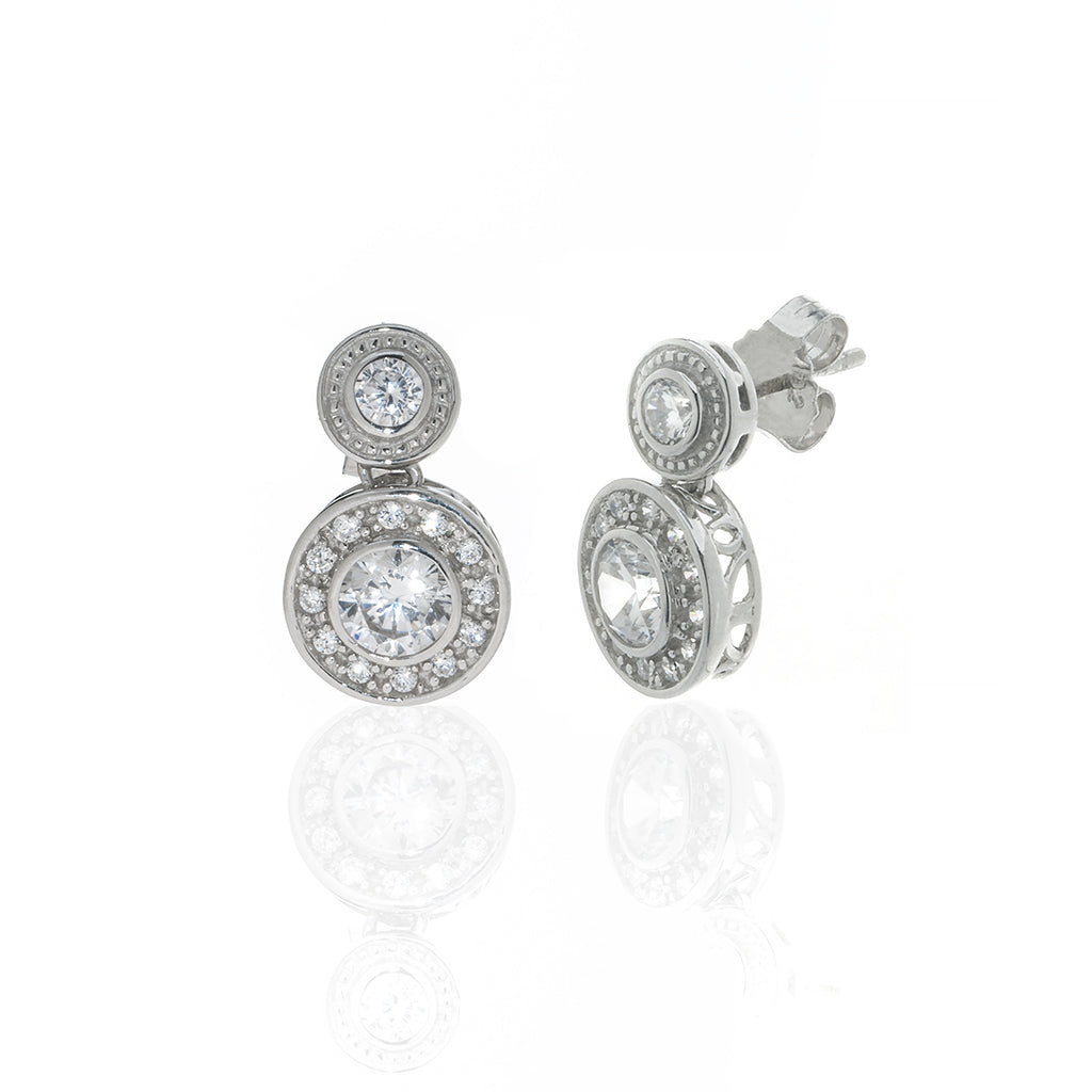 1.5 Carat Round CZ Sterling Silver Drop Earrings