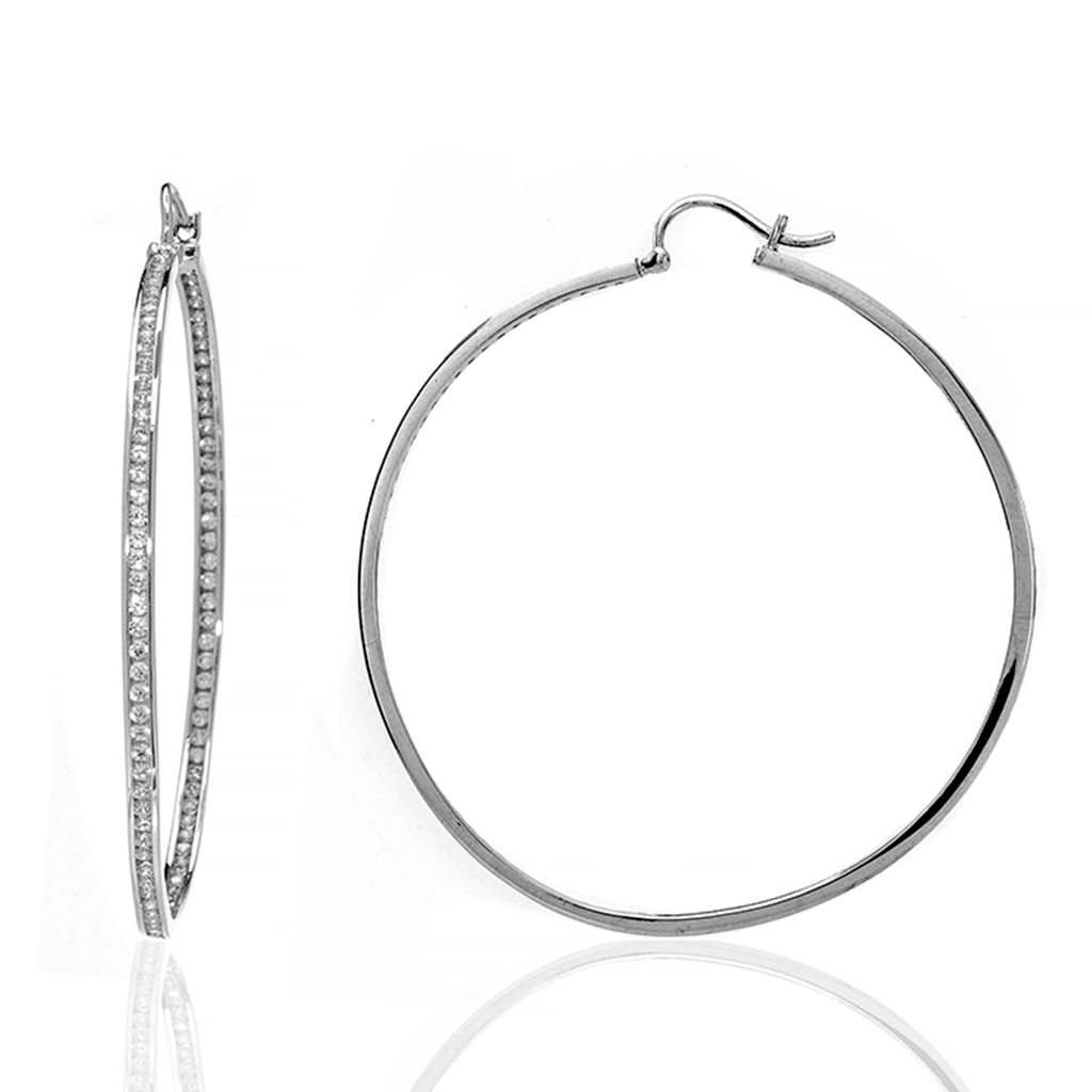 Sterling Silver CZ Extra Large Hoop Earrings