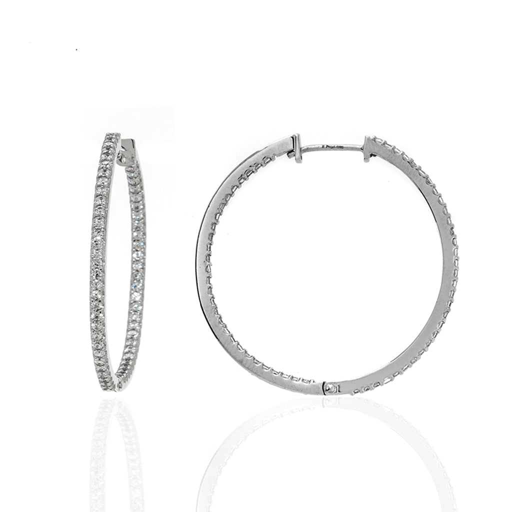 Sterling Silver CZ Large Hoop Earrings