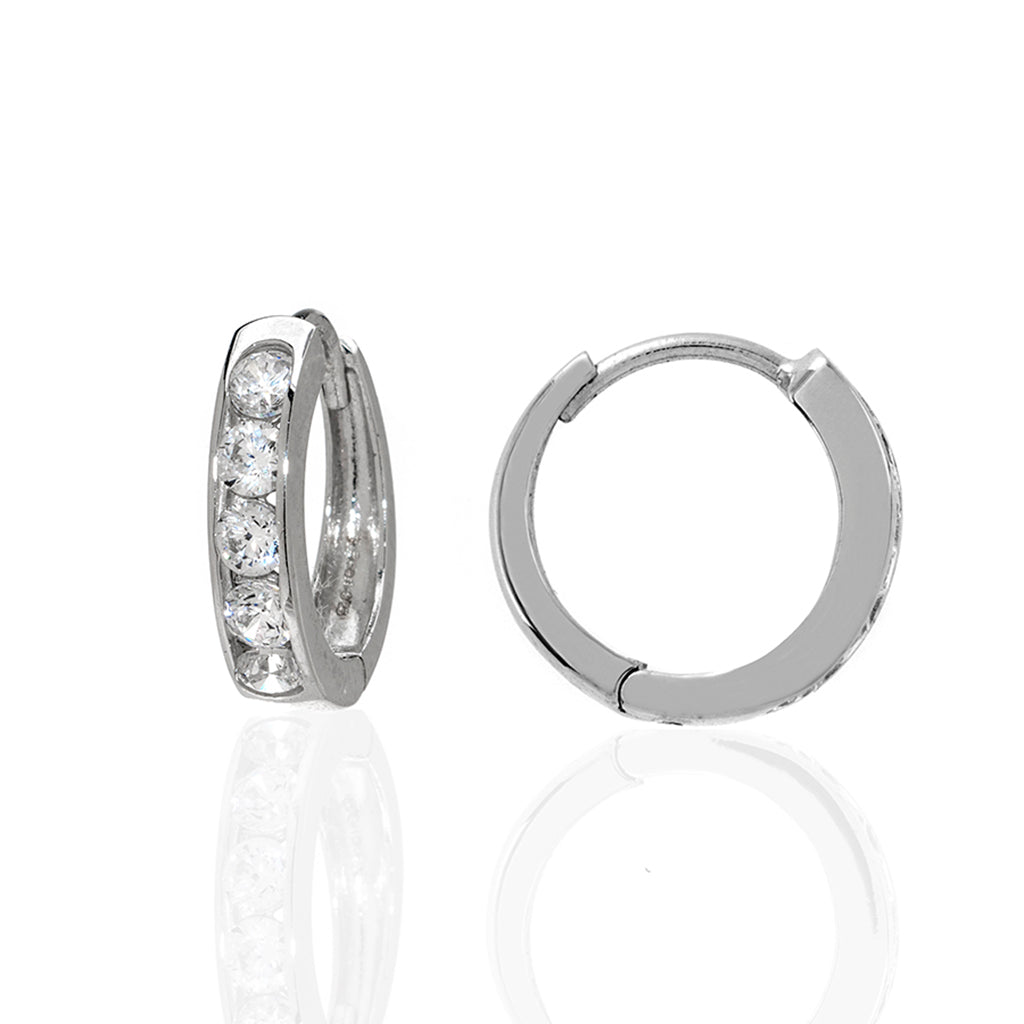 Sterling Silver CZ Extra Small Hoop Earrings