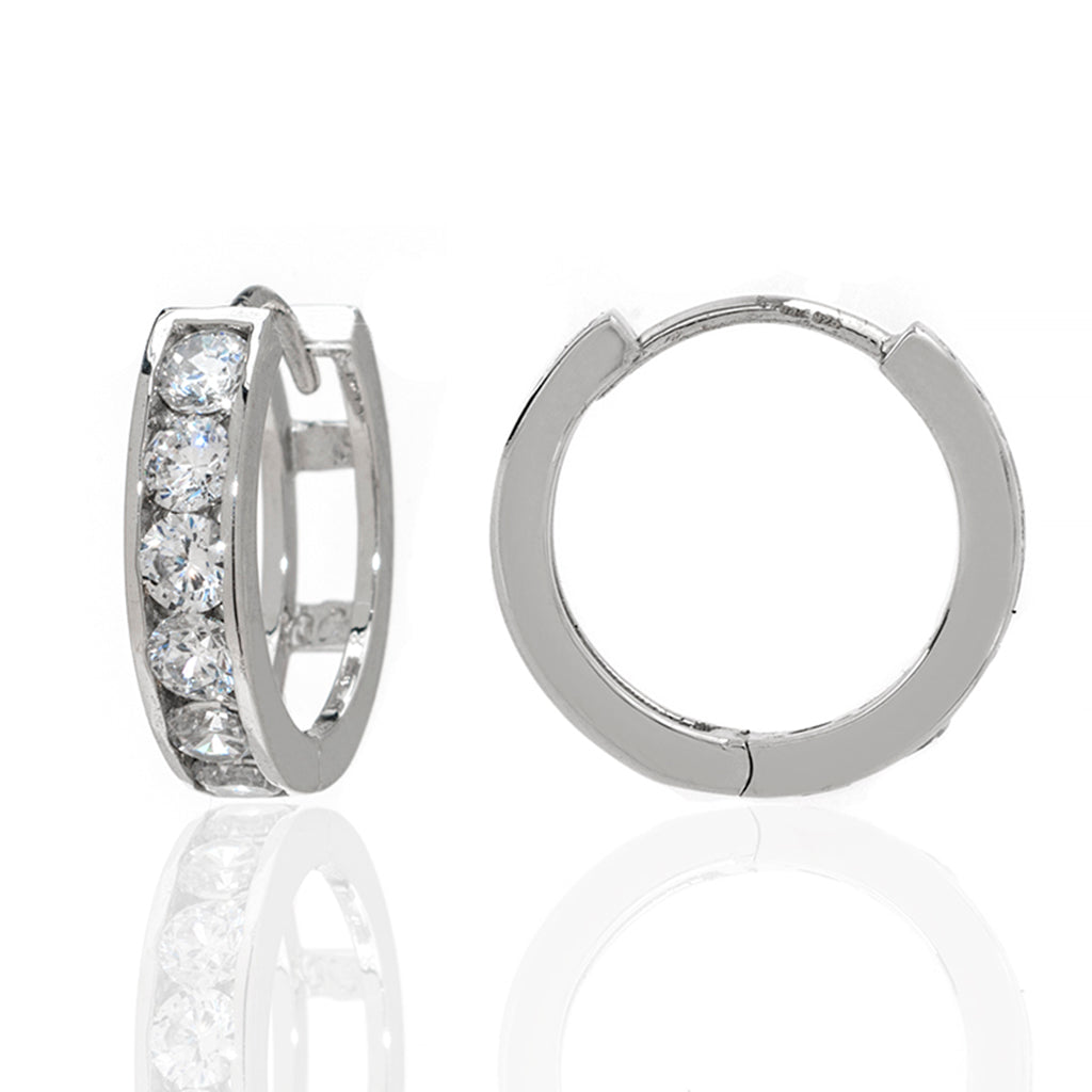 Sterling Silver CZ Small Hoop Earrings