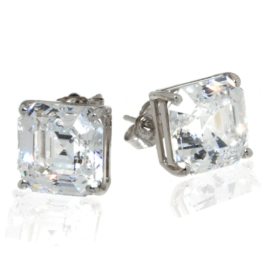14k White Gold Asscher Cut Stud Earrings