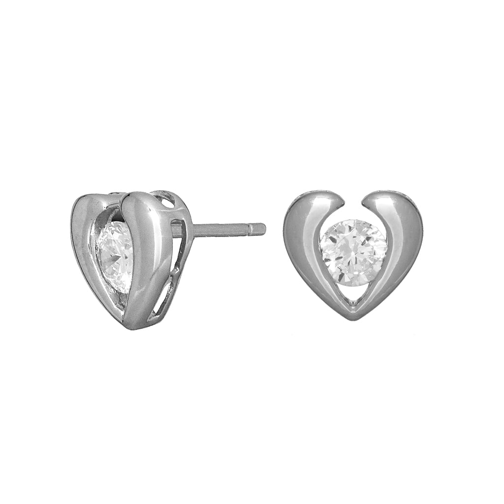 Sterling Silver CZ Heart Pierced Earrings