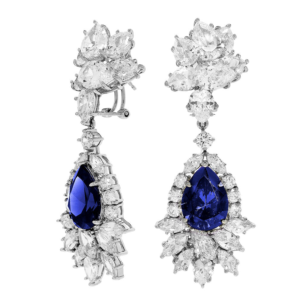 Sterling Silver Sapphire CZ Drop Earrings