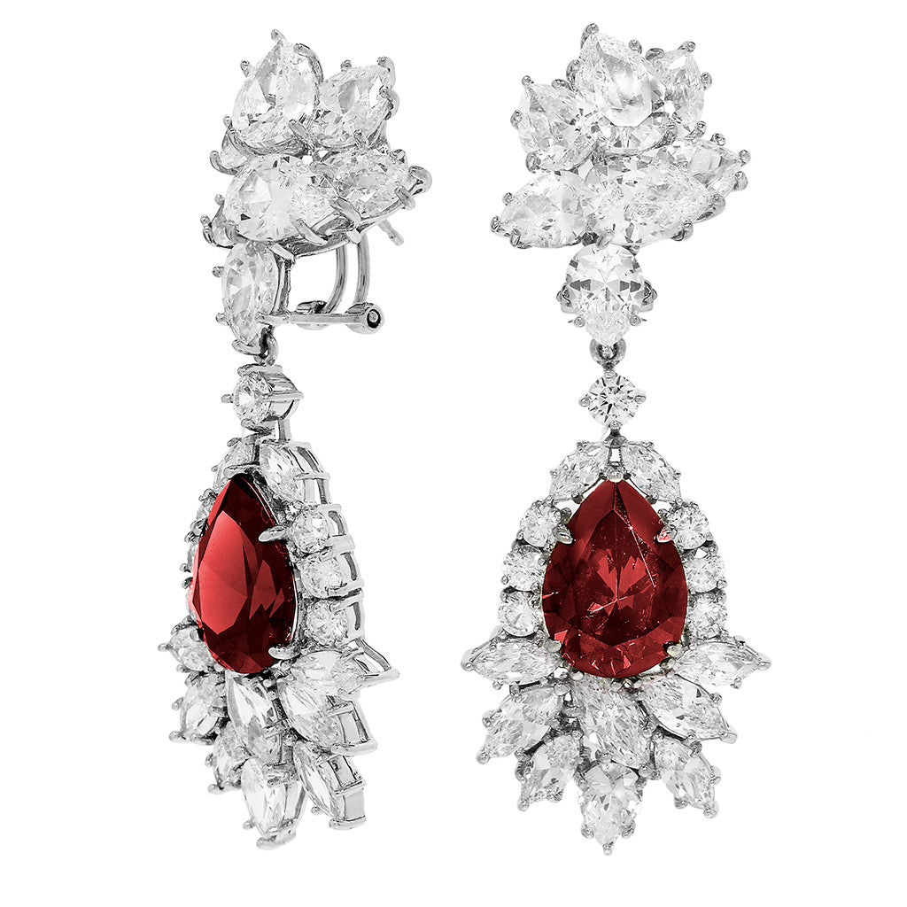 Sterling Silver Ruby CZ Drop Earrings