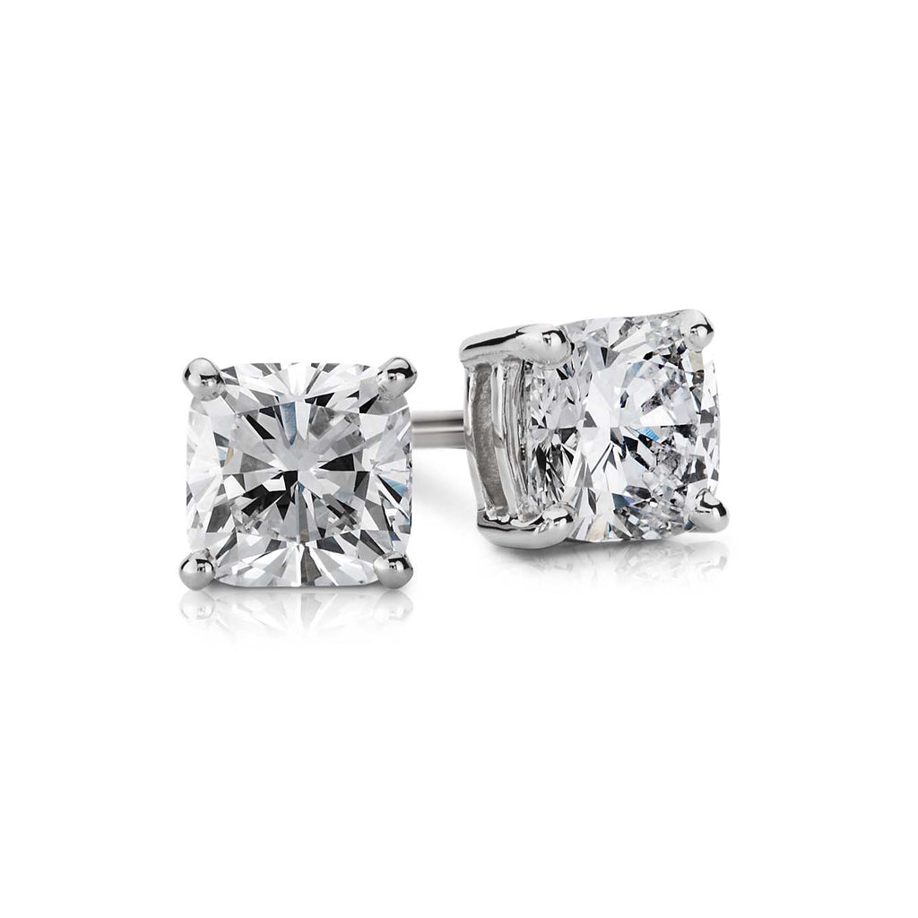 14K White Gold Radiant Cut Earrings 6 Carat