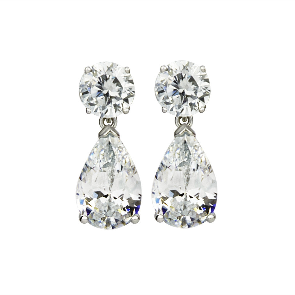 14K White Gold Teardrop Earring 14.45 CT