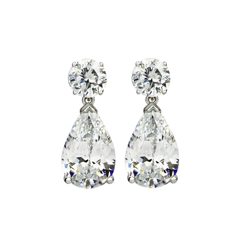 Sterling Silver Cubic Zirconia Teardrop  Earrings 8.05 CT