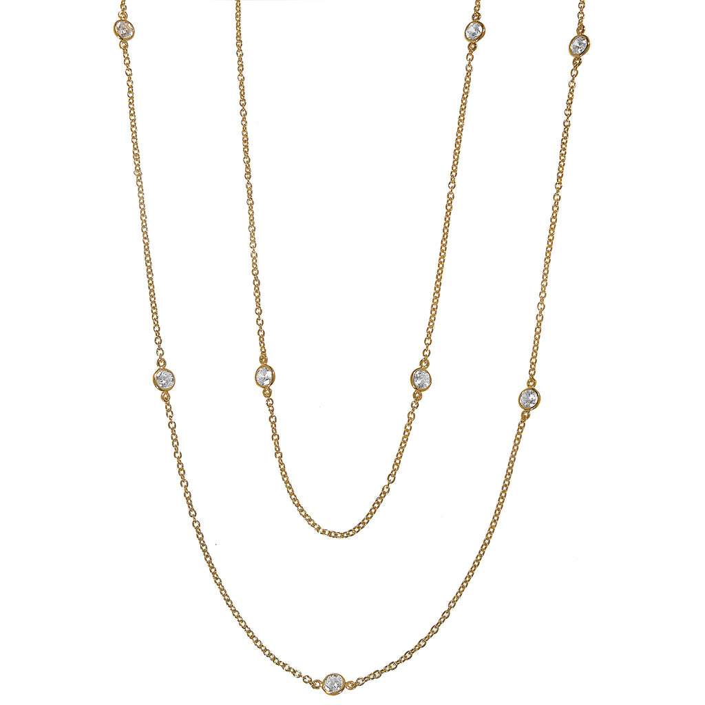 "36"" 22K Gold Plated Sterling Silver Bezel Set Necklace"