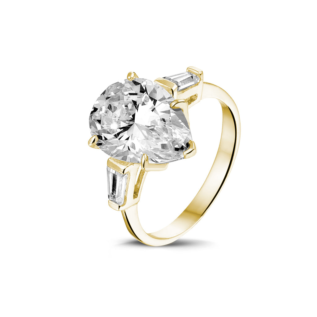 14k Yellow Gold Pear CZ With Baguettes Ring