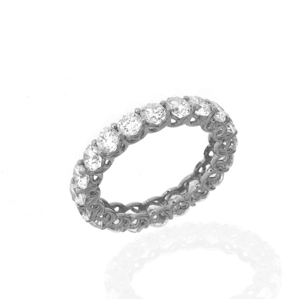 14K White Gold Cubic Zirconia Eternity Ring 3.15 CT