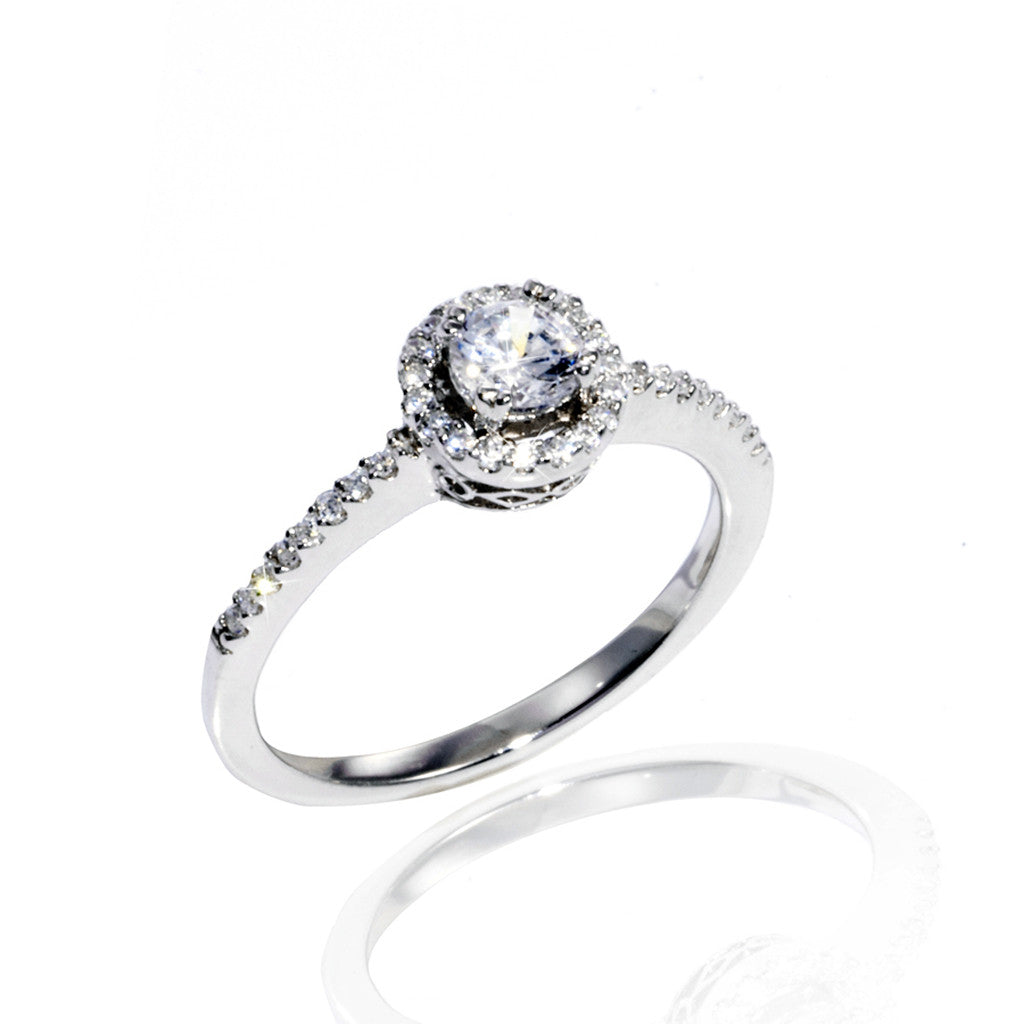 Sterling Silver & Cubic Zirconia Round Cut Ring 1.45 CT