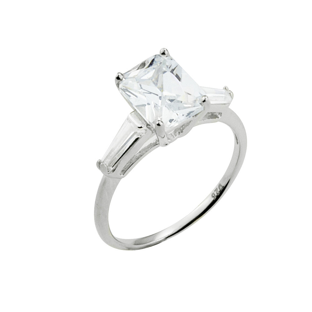 5c618d1fd Sterling Silver Emerald Cut CZ Ring with Baguettes