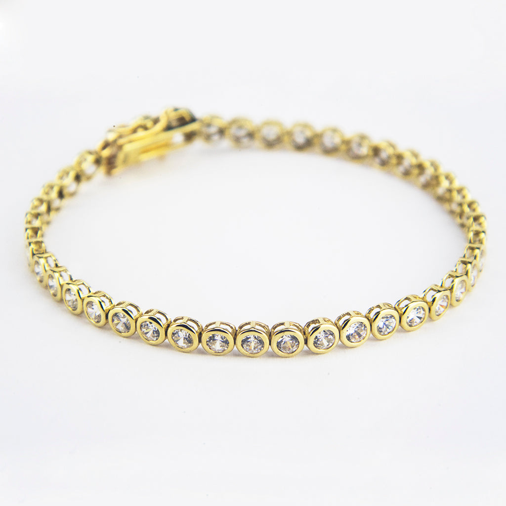 14K Yellow Gold CZ Tennis Bracelet 4.20ct
