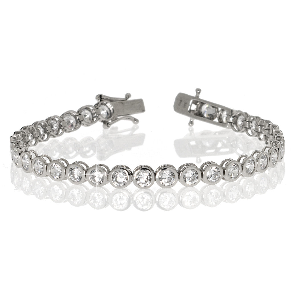 4.85ct Sterling Silver Bezel Set Tennis Bracelet