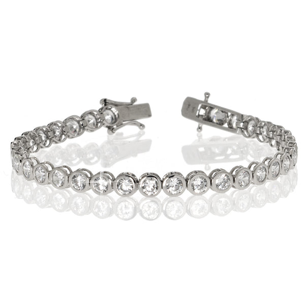 Sterling Silver Bezel Set Tennis Bracelet 4.85CT