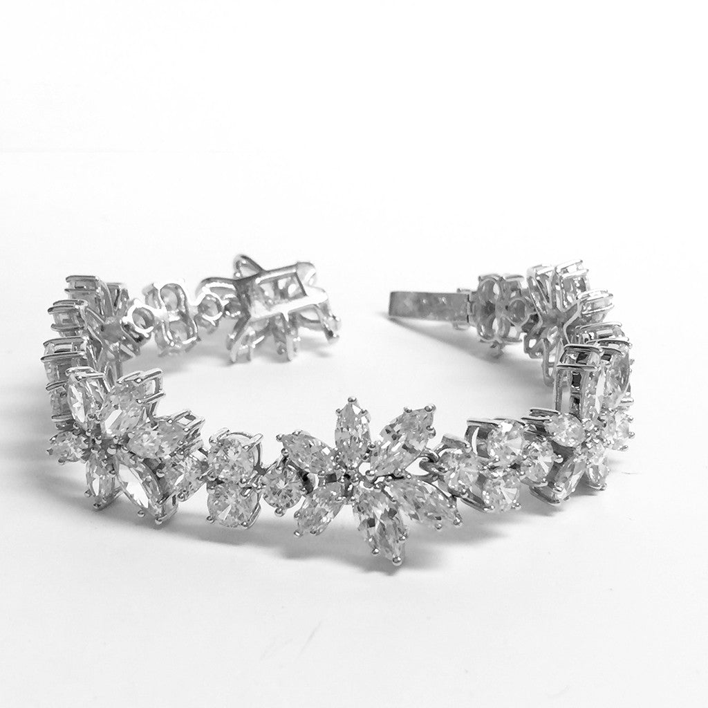 Sterling Silver CZ Marquis Bracelet