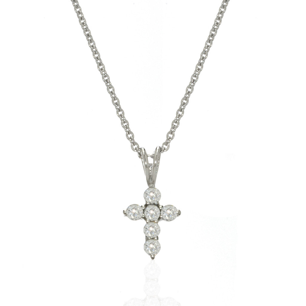 Sterling Silver Cubic Zirconia Extra Small Cross/ Choker Necklace