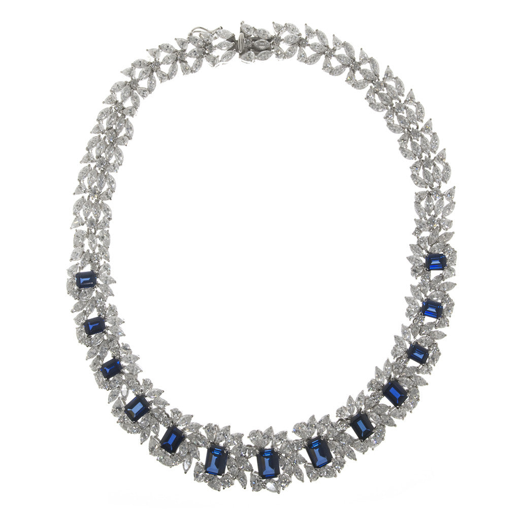 Sterling Silver Sapphire CZ Necklace