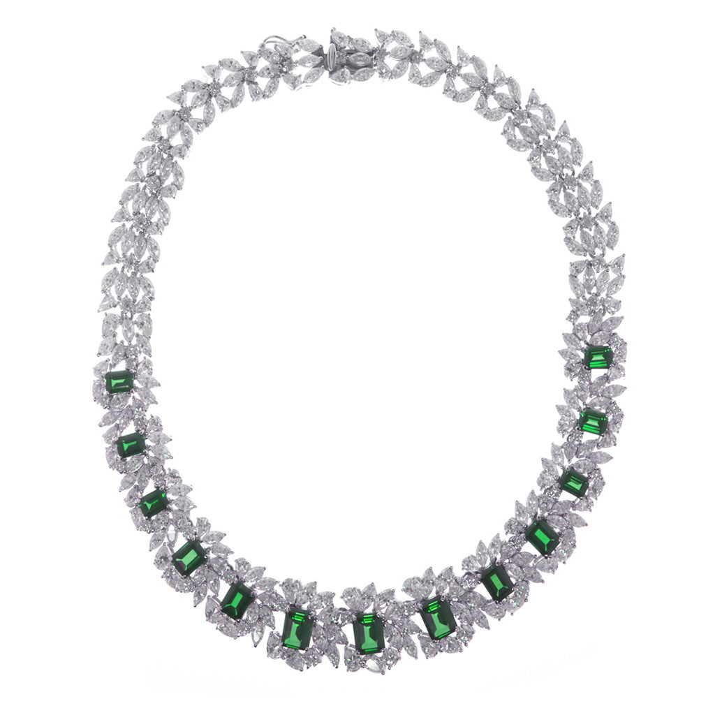 Sterling Silver Emerald CZ Necklace