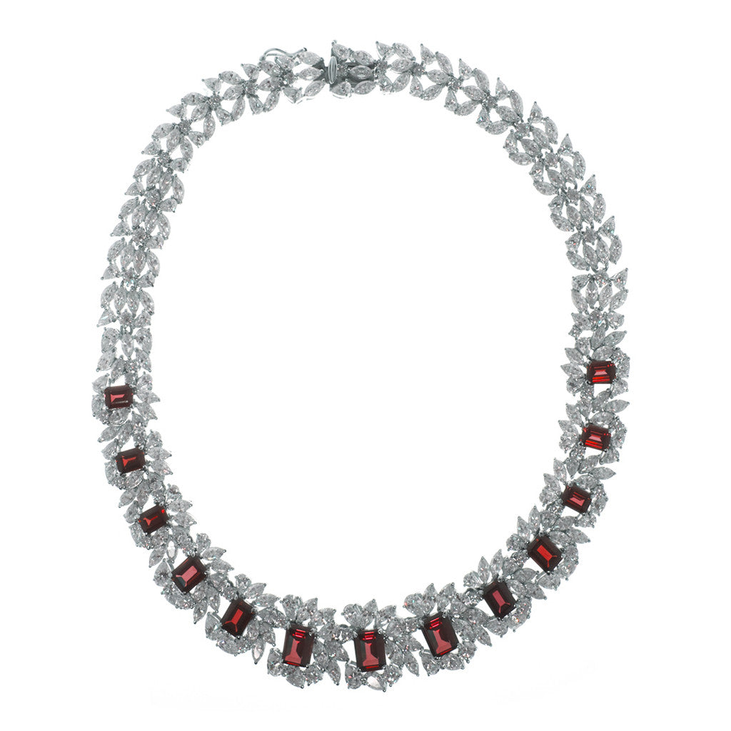 Sterling Silver Ruby CZ Necklace