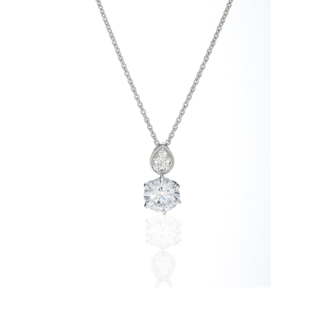 2.1 CT Sterling Silver Cubic Zirconia Round Drop Pendant