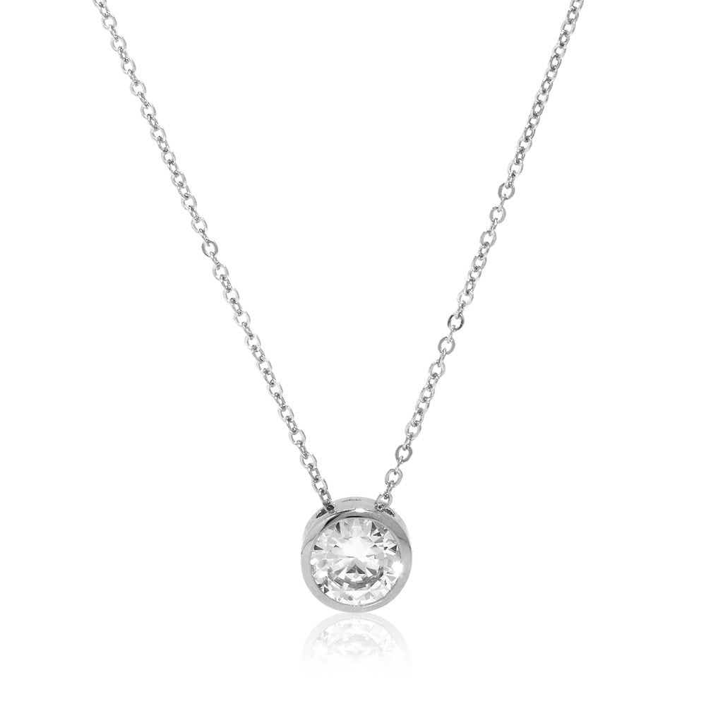 Sterling Silver Bezel Cubic Zirconia Chain Necklace .50 CT