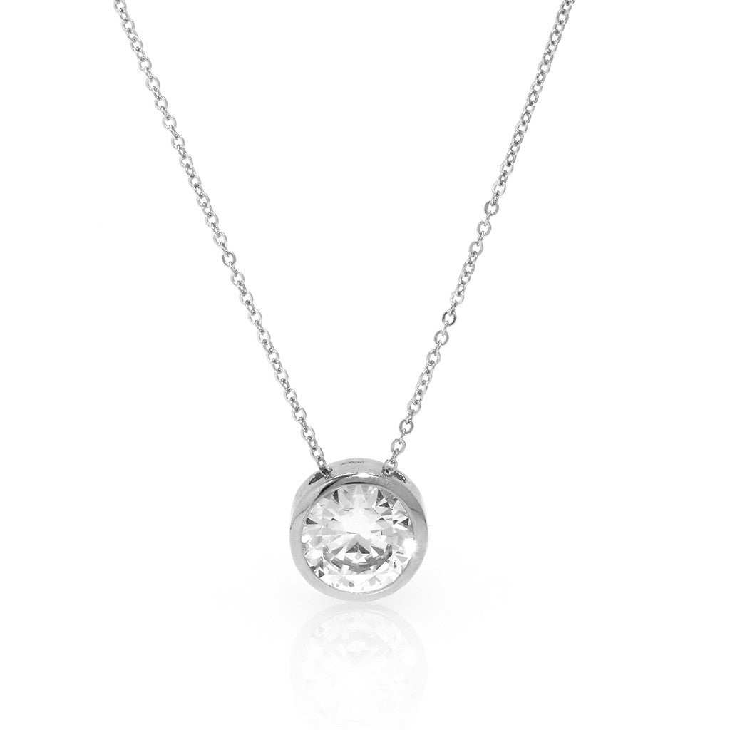 3.40 CT Sterling Silver Bezel Cubic Zirconia Chain Necklace