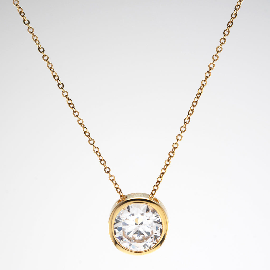 14k Yellow Gold CZ Bezel Chain Necklace