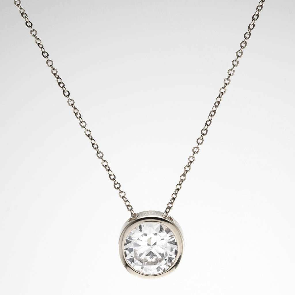 14k White Gold CZ Bezel Chain Necklace