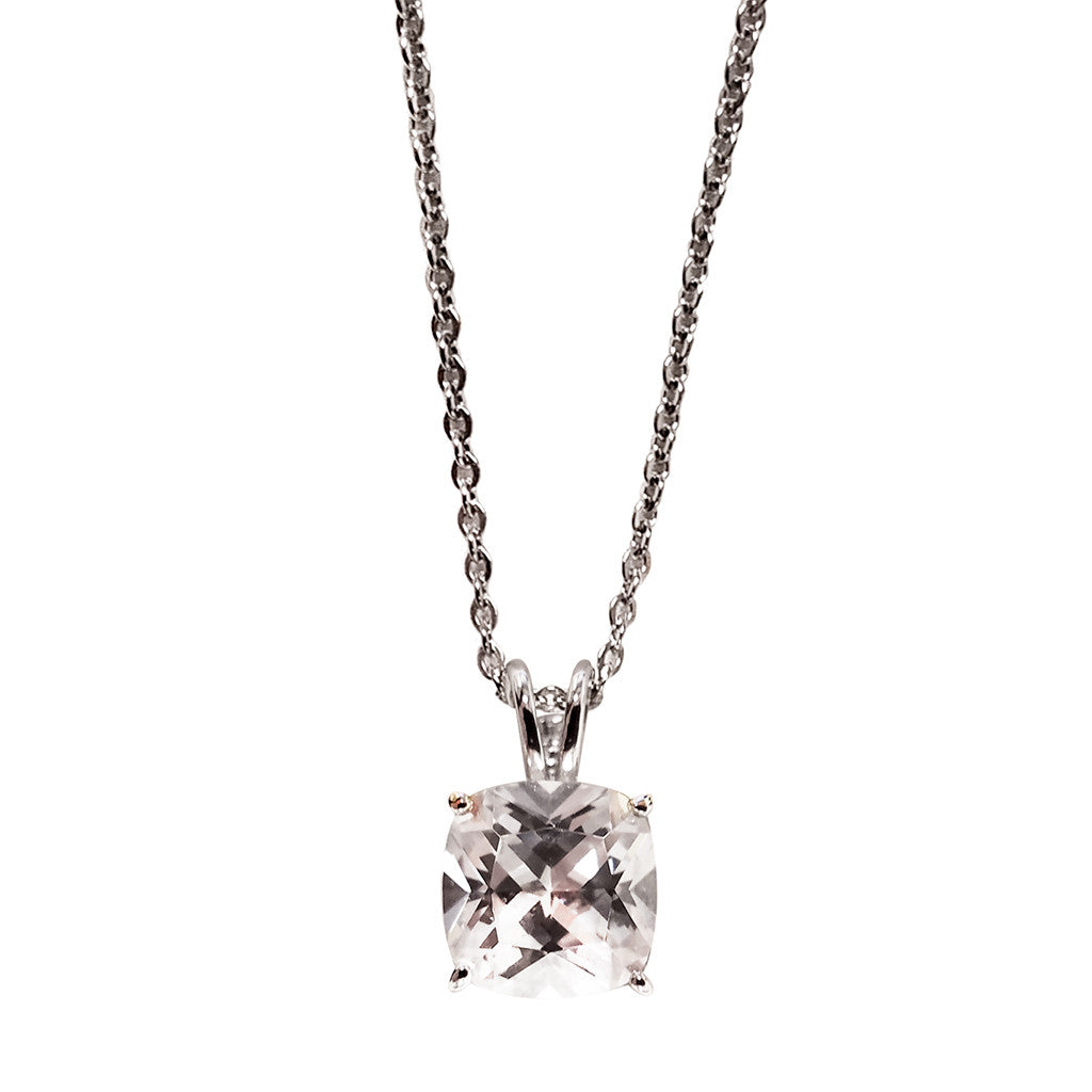 Sterling Silver Cubic Zirconia Cushion Cut Pendant Necklace