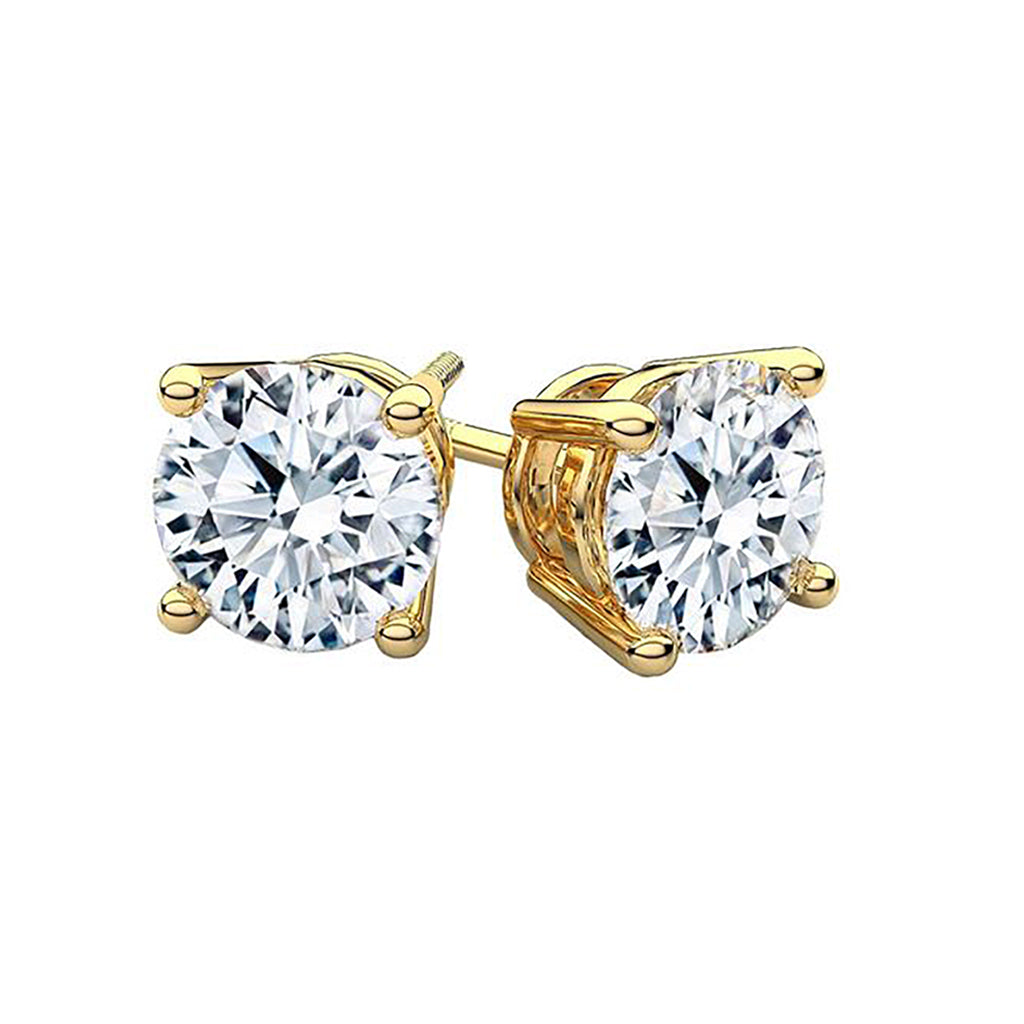 4 CT 14K Yellow Gold Round Cut Stud Earrings
