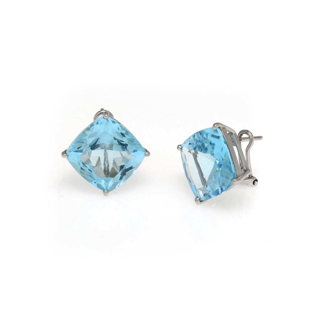 28 Carat Blue Topaz Earrings Set In 14K White Gold Omega Backs