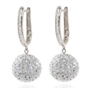 Silver 10MM Crystal Ball Drop Earrings