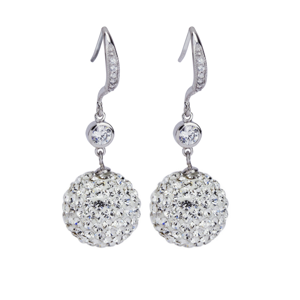 Sterling Silver Euro Wire Crystal Ball Drop Earrings 14MM