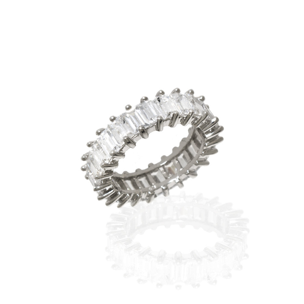 Sterling Silver Emerald Cut Eternity Band