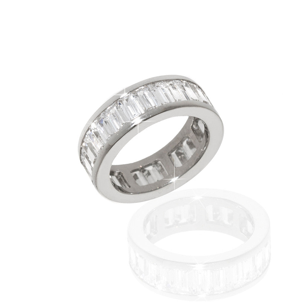 Sterling Silver Cubic Zirconia Channel Set Eternity Band